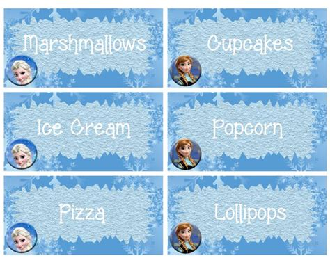 printable frozen labels 8 best images of frozen party food tent label free