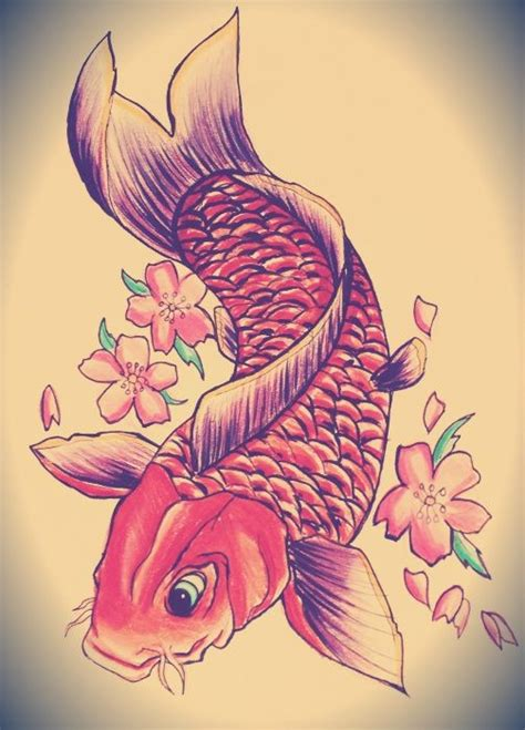 tattoos of koi fish with cherry blossoms traditional koi fish and cherry blossom tattoo design