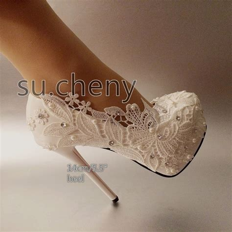 Platform Wedding Shoes by 4 5 5 Quot High Heel White Light Ivory Pearl Lace Platform