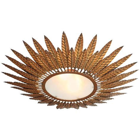 French Bronze Starburst Flush Mount Light Fixture For Sale Starburst Ceiling Light