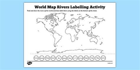 world rivers map worksheet world map rivers labelling activity world map rivers