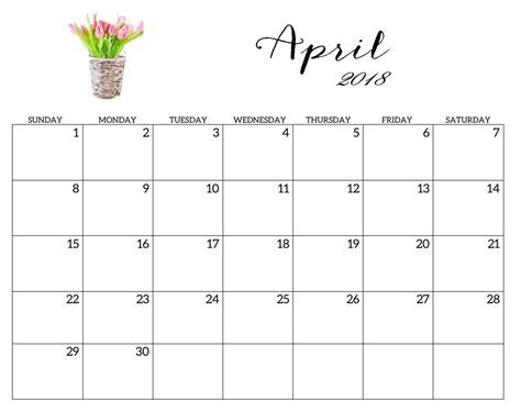 april 2018 calendar printable page printable 2018 monthly blank templates calendar 2018