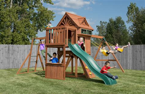 free swing sets sky loft swing set with monkey bars rockwall and slide