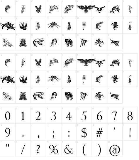 tattoo fonts tribal tribal animals designs font