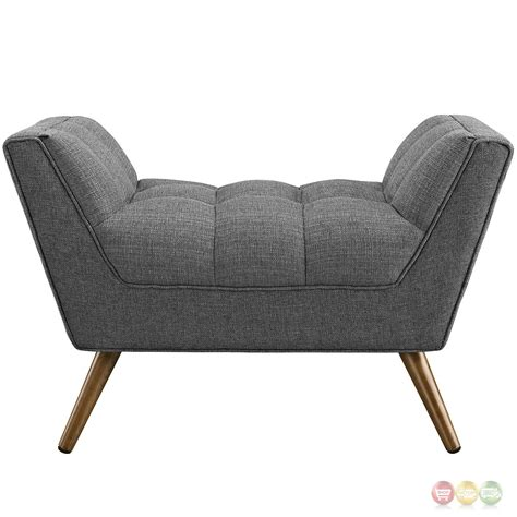 Response Contemporary Button Tufted Upholstered Ottoman Gray Modern Tufted Ottoman