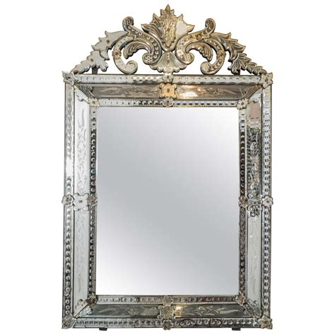 one mirror vintage venetian beveled wall mirror with etched