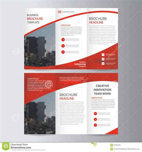 abstract red trifold leaflet brochure flyer template