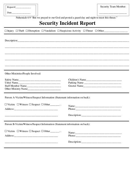 Incident Report Exle Security Security Incident Report