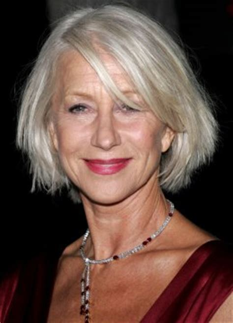 silver hair jaw length helen mirren with her silver hair cut to a chin length bob