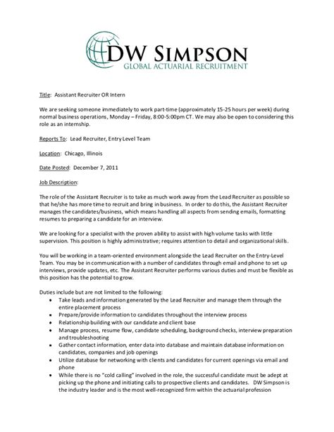 Sample Human Resource Resume by Entry Level Assistant Recruiter Or Intern Job Description