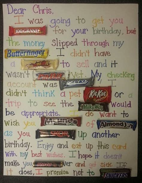 Birthday Card Made Out Bars Candy Bar Poster Ideas With Clever Sayings Hative
