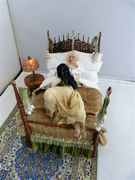 horror doll house scary dollhouse miniature haunted bed scene with handcrafted room furnishings dressed