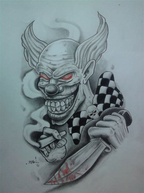 killer tattoo designs killer clown by karlinoboy on deviantart