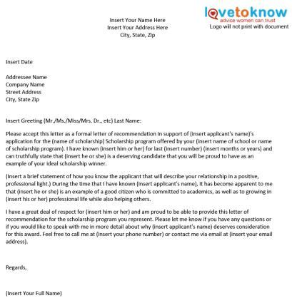 Letter Of Recommendation For Scholarship Template Sle Scholarship Recommendation Letter Lovetoknow