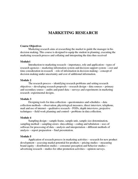 marketing research paper exle marketing research exle