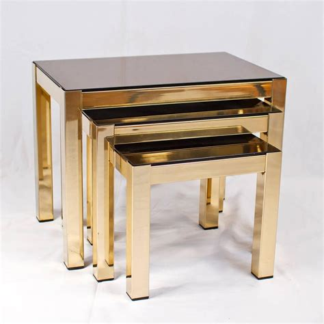 Gold Nesting Tables by 23 Carat Gold Plated Nesting Tables With Copper