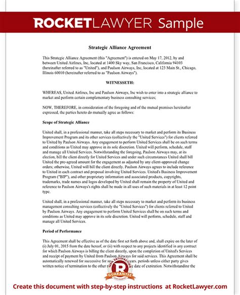 Strategic Partnership Template strategic alliance agreement template strategic