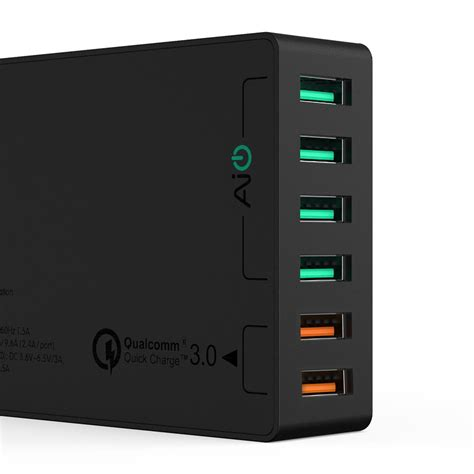 Wall Charger Usb 1 Port Quickcharge 3 0 מוצר aukey multi usb charger charge 3 0 6 port usb fast turbo wall charger for samsung