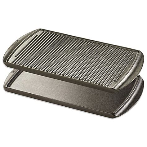 bed bath and beyond grill typhoon 174 cast iron reversible rectangular grill pan bed bath beyond