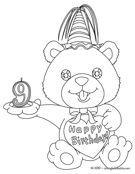 Drawing 2 Year by Coloriages Coloriage Ourson Anniversaire 9 Ans Fr