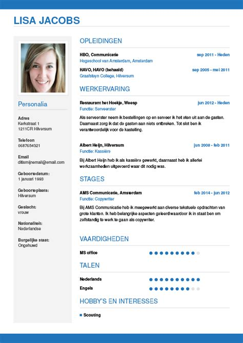 Sjabloon Cv Jobstudent Cv Maken In 3 Stappen Je Curriculum Vitae Downloaden Cv Wizard