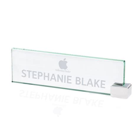 glass name plates for desk jade glass business desk nameplate with chrome holder