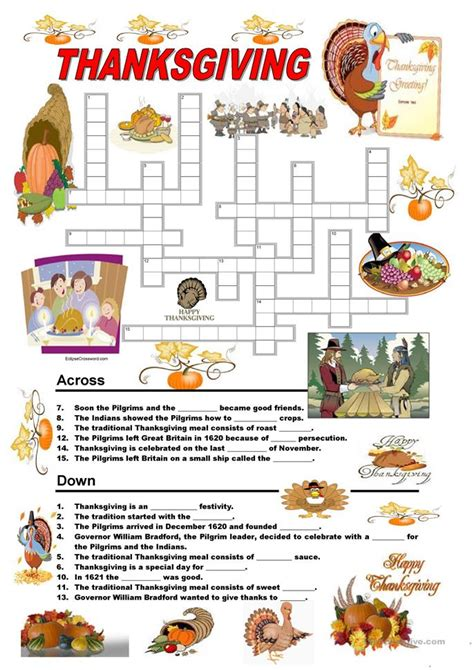 The Second Book Of 100 New Crossword Puzzles thanksgiving crossword puzzle worksheet free esl