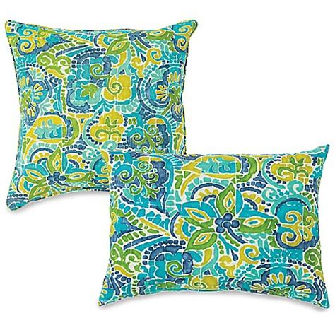 bed bath and beyond outdoor pillows outdoor throw pillows in mosaic blue bed bath beyond