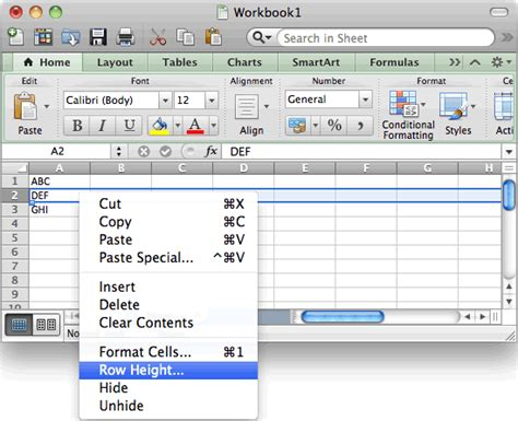 format row height excel 2007 ms excel 2011 for mac change height of a row
