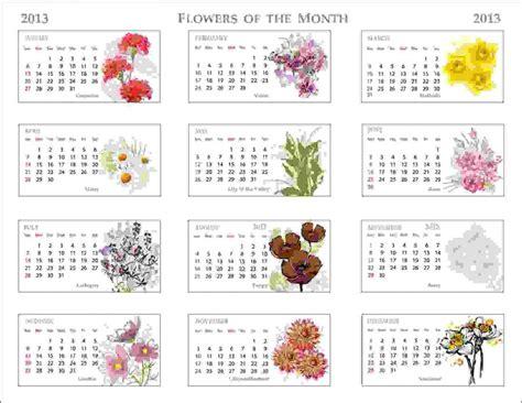 printable calendar with flowers 2013 flowers of the month calendar pixdaus