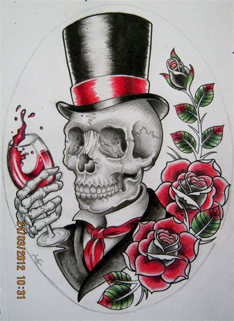 skull with hat tattoo designs gentleman skull design by frosttattoo on deviantart