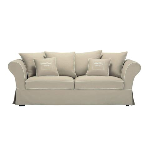 sweet sofa 3 4 seater cotton sofa in beige sweet home maisons du monde