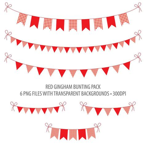 printable gingham banner red bunting clip art red gingham instant download printable