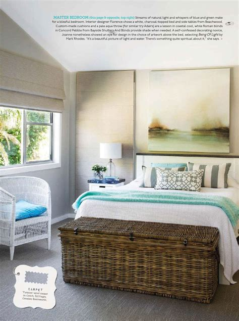 Coastal blissful master bedroom interiors by color