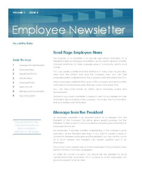 Employee Newsletter Staff Newsletter Templates Free