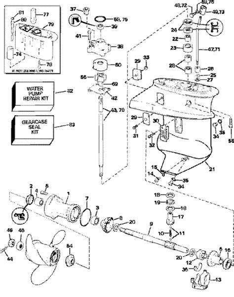 evinrude etec parts diagram johnson gearcase parts for 2006 15hp j15rsdr outboard motor