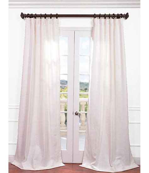 Buy Mineral White Heavy Faux Linen Curtain Drapes At Low