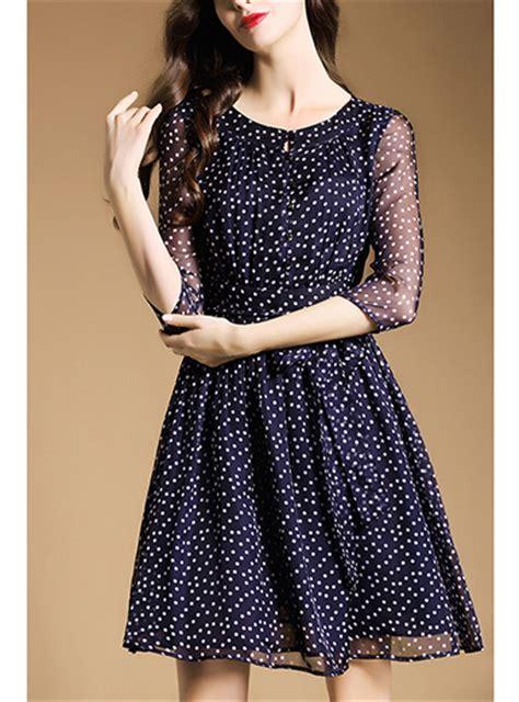 Dress Polka White Blue chiffon mini dress navy blue small white polka dots