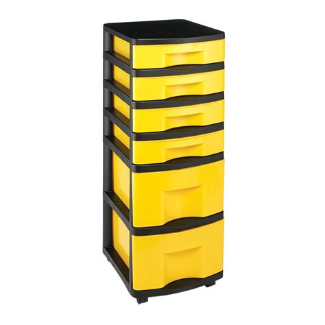 6 Drawer Storage Cart by Durabilt 6 Drawer Storage Cart In Black And Yellow 2 Pack
