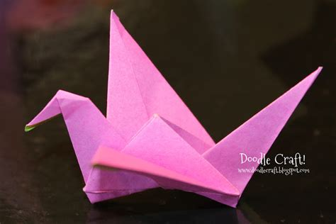 Folding Paper Birds - doodlecraft origami flapping paper crane mobile