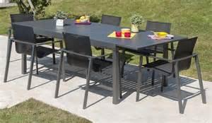 table de jardin gris anthracite avec rallonge et 6