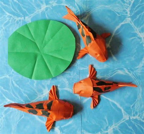 Gold Fish Origami - colorful origami hi utsuri orange and black koi goldfish