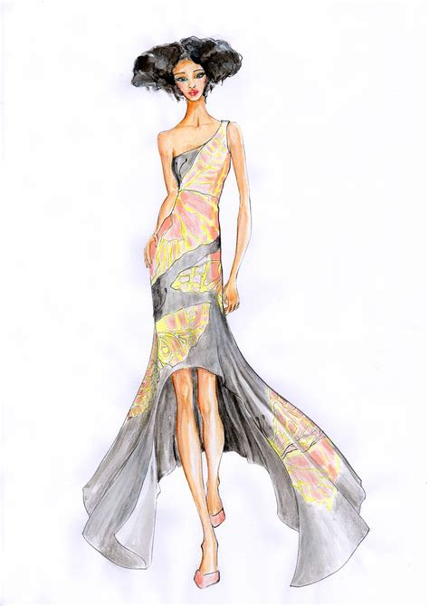 fashion illustration gown butterfly work dress fashion illustration butterfly