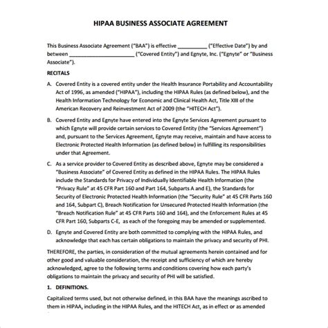 baa agreement template 7 business associate agreement templates sle templates
