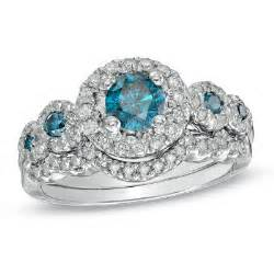 blue and white wedding rings engagement ring 1 1 8 ct t w enhanced blue and white