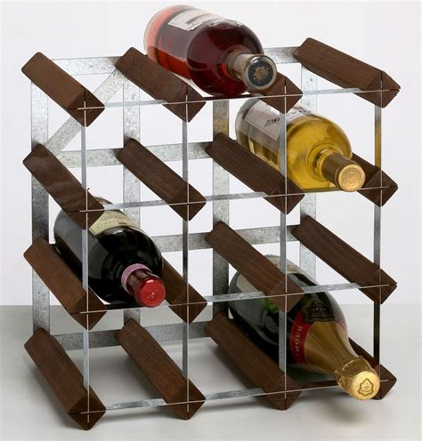 12 bottle traditional wooden wine rack 3x3