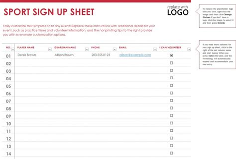 sports signup sheet template 187 template haven