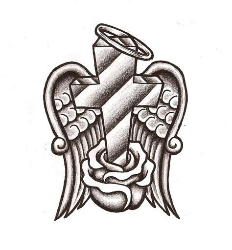 cross tattoo drawing drawings of crosses with wings cliparts co