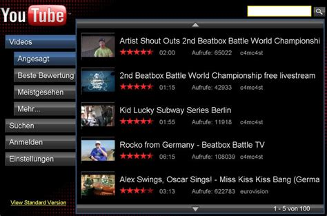 accessing youtube xl on the television youtube xl videos in hd auf dem flachbildfernseher