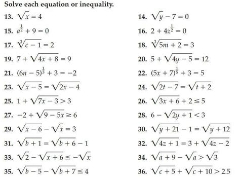 Solving Equations Worksheet Answers